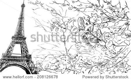 埃菲尔铁塔画插图 - 建筑物/地标,抽象