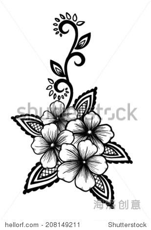 黑白相间的花和叶子设计元素.花在复古风格的设计元素.