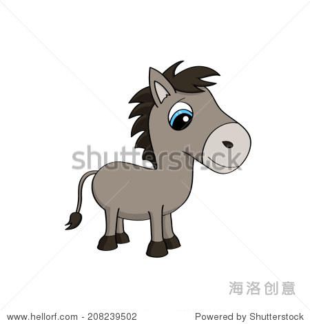 可爱的卡通插图婴儿驴与蓝色的大眼睛