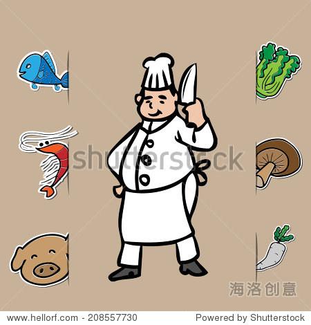 胖厨师刀和新鲜食品