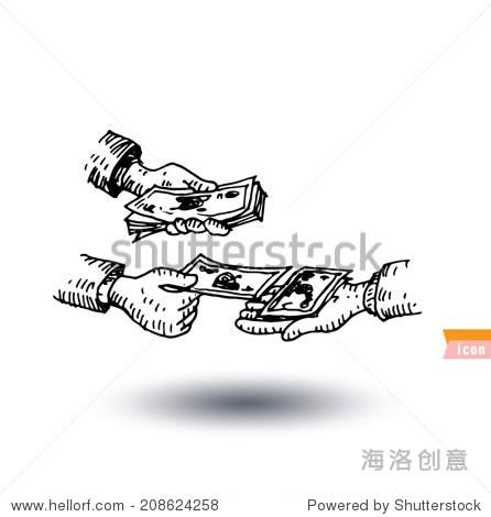 银行图标,手绘插图.-商业/金融,符号/标志-海洛创意