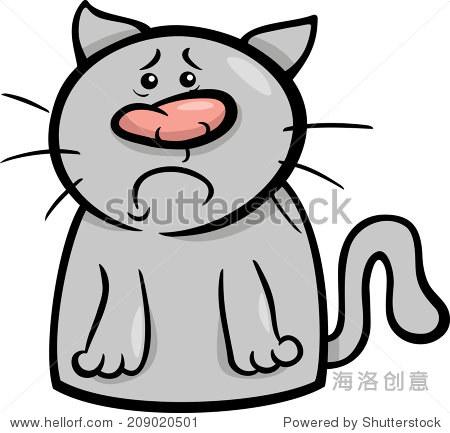 卡通矢量插图有趣的猫表达悲伤情绪 - 动物/野生生物