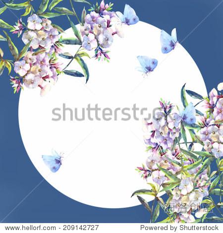 夹竹桃和蝴蝶在月光下花环.水彩手绘插图.