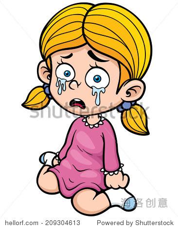 矢量图的卡通女孩哭了