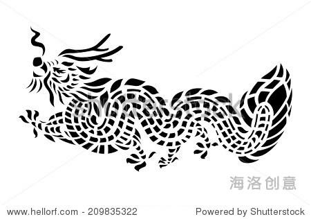 龙纹身矢量图
