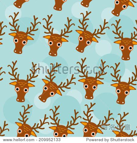鹿无缝模式与滑稽可爱的动物的脸在蓝色的背景上.