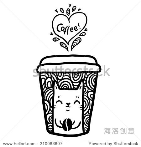 涂鸦的咖啡杯和可爱的猫 - 动物/野生生物,食品及饮料