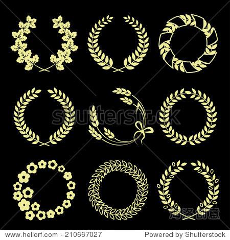金花环孤立在黑色背景.矢量图