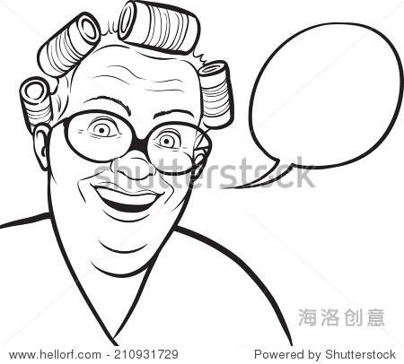 白板上画——卡通卷发棒和演讲中脂肪的家庭主妇泡沫