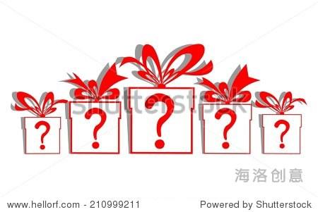 礼物盒和一个问号.插图