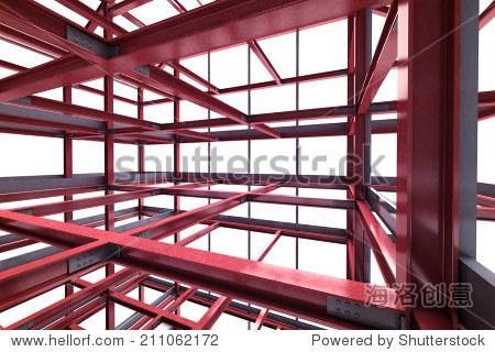 红钢框架建筑室内透视图呈现插图