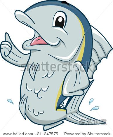 吉祥物插图以金枪鱼竖起大拇指 - 动物/野生生物