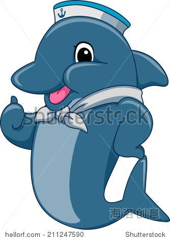 吉祥物插图以海豚水手竖起大拇指-动物/野生生物-海洛