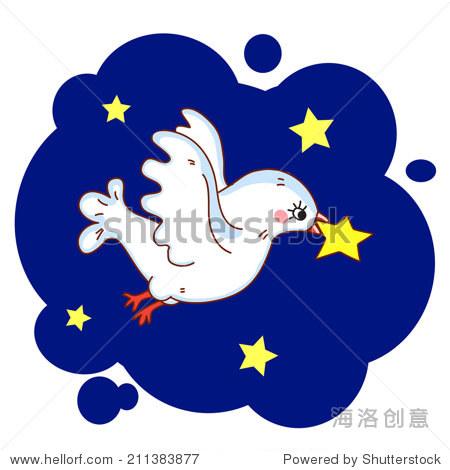 飞翔的鸟.的夜晚.矢量图.或圣诞节.在白色背景上.