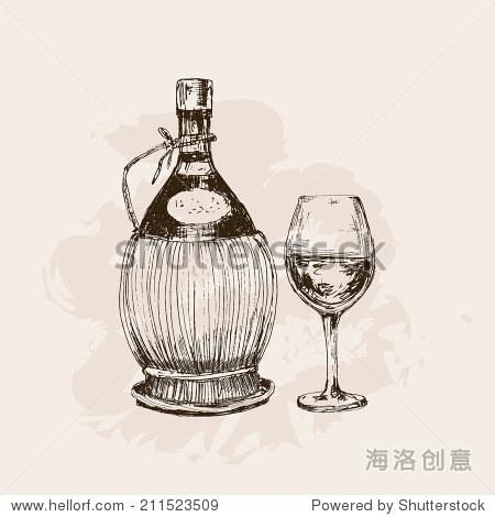 一瓶酒和玻璃.手绘图解说明