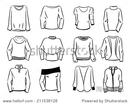 Set of contours of women s sweaters isolated on white background