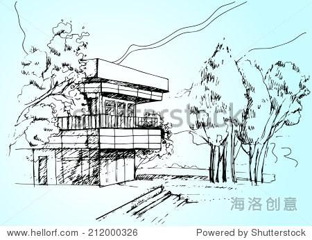 说明向量素描建筑房子和树