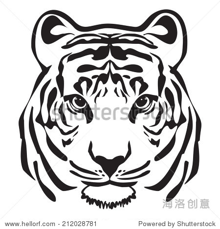 老虎头轮廓矢量 - 动物/野生生物,符号/标志 - 站酷