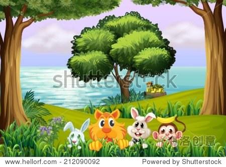 插图的动物在森林里