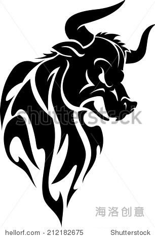 愤怒的公牛部落纹身 - 动物/野生生物,抽象 - 站酷,,.