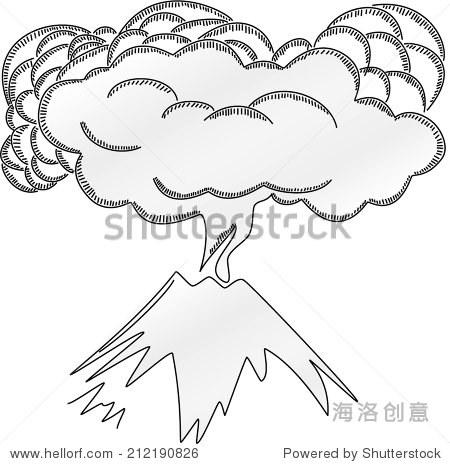 火山喷发的黑白铅笔绘图 - 背景/素材,自然 - 站酷,,.