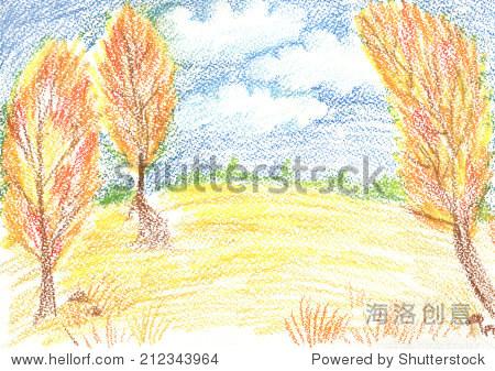 秋天的风景——手绘蜡蜡笔文本或插图的模板.