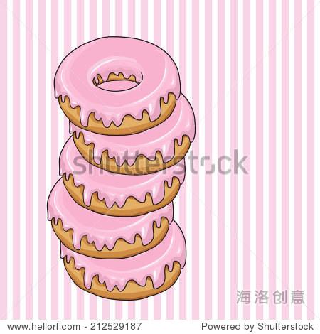 可爱的甜甜圈.手绘矢量插图.