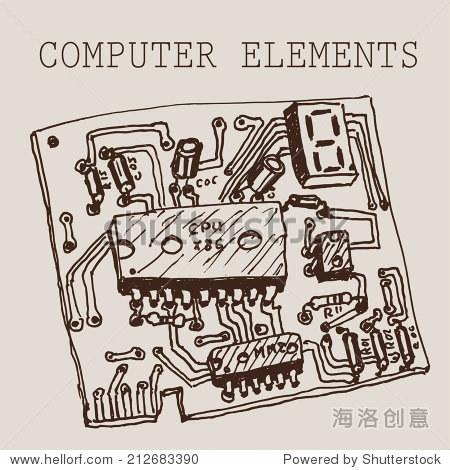 向量在纸上手绘电脑电路板.eps10