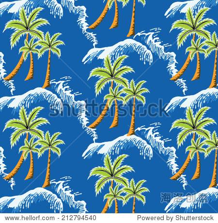 排椰子树的船只在夏天蓝色