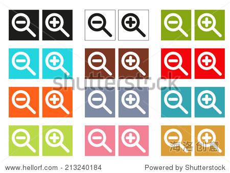 小�9�`9�b�o.�in9l$yi�_set of 12 isolated colorful cursors (icons) for zoom in and z