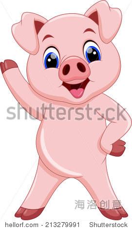 可爱的卡通猪