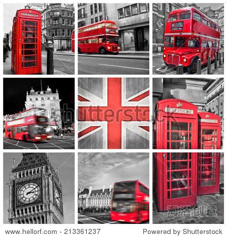 伦敦的照片拼贴画,可选颜色 - 建筑物/地标 - 站酷,,.