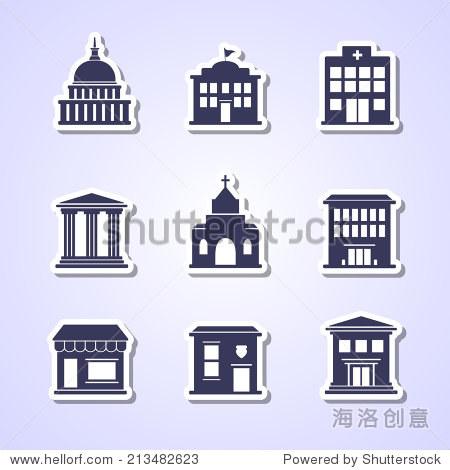 政府大楼剪纸图标