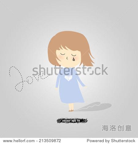 矢量手绘的可爱的小女孩在哭.蓝色裙子的女孩哭了心碎