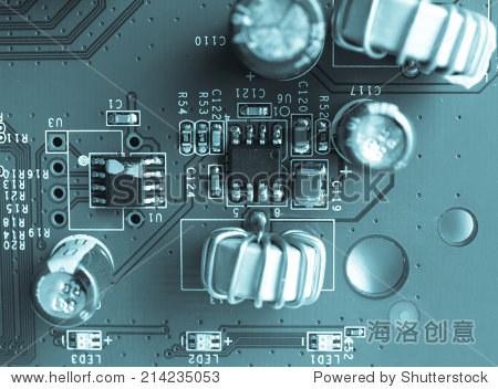 电子印刷电路板的细节——很酷的蓝图