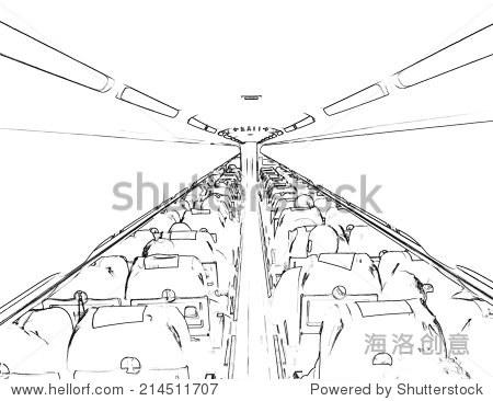 飞机内部.插图. - 交通运输,抽象 - 站酷海洛创意正版