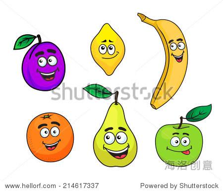 快乐的卡通可爱的李子,柠檬,香蕉,橘子,梨和苹果水果人物的脸,微笑的
