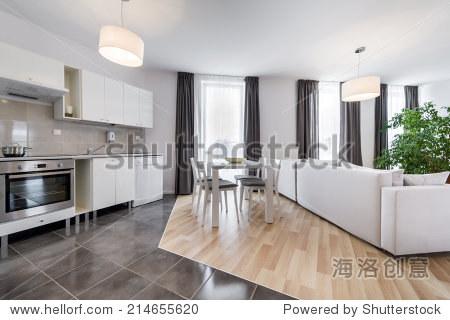 开放空间,现代室内设计客厅和厨房