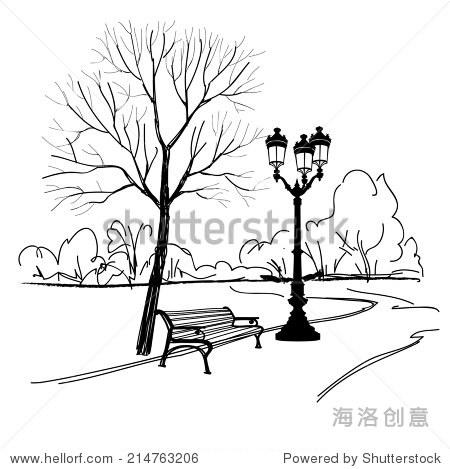 在公园长椅上树和路灯.城市公园景观.矢量手绘草图.