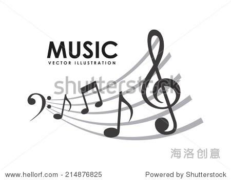 音乐在白色背景矢量图设计-背景/素材
