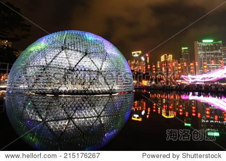 HONG KONG, CHINA - SEPTEMBER 16, 2013: Victoria Park dome lights up to celebrate the mid-autumn festival, also known as moon festival, on September 16, 2013 in Hong Kong, China.