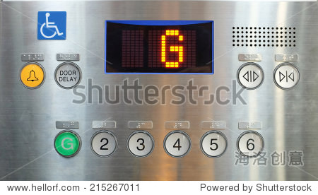 电梯内部按钮控制面板,盲文数字和符号