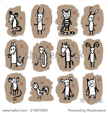 中国12生肖.可爱的动物星座.涂鸦矢量插图.