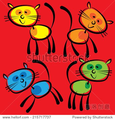 彩色猫孤立在红色背景上