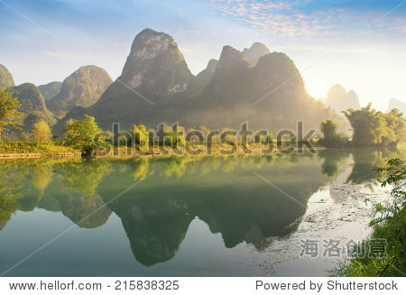 Sunset landscape of yangshuo in guilin,china