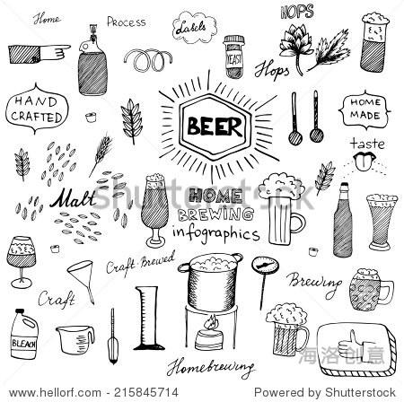 手绘的啤酒信息图形设计.家庭酿造,精心制作啤酒.黑色