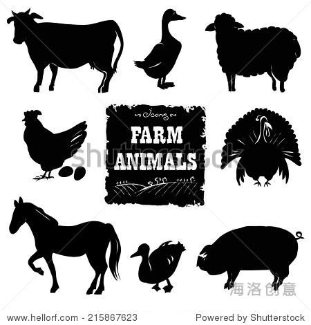 农场动物.手绘矢量插图.