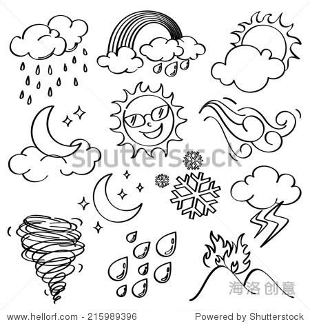 天气图标集合-自然,符号/标志-海洛创意正版图片,视频