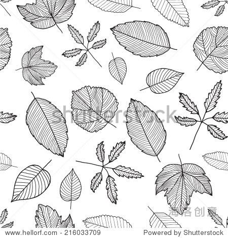 向量秋天黑白手绘线叶子无缝背景,纹理