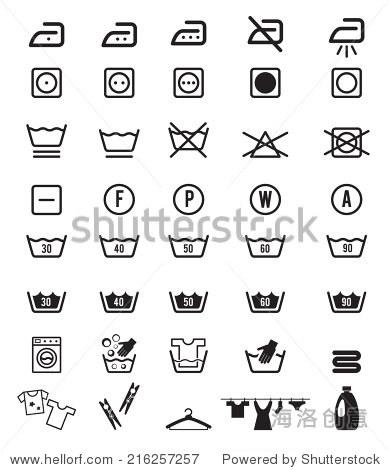 衣物护理和洗衣洗指令图标符号